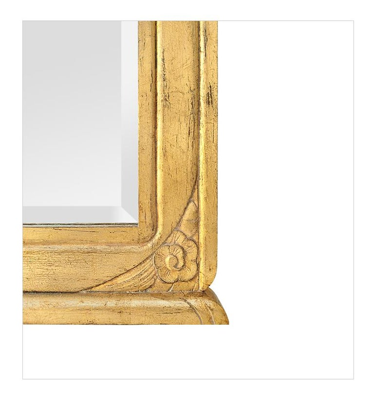 Mid-20th Century Large Antique Giltwood Mirror, Art Deco Style, circa 1940 For Sale