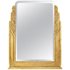 Large Antique Giltwood Mirror, Art Deco Style, circa 1940