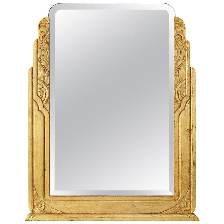 Large Antique Giltwood Mirror, Art Deco Style, circa 1940 For Sale