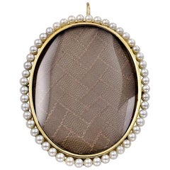Large Antique Gold and Pearl Locket Pendant