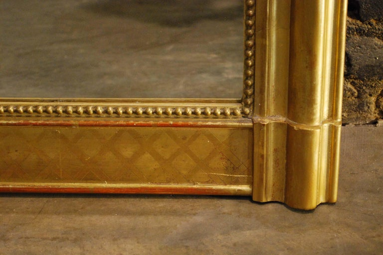 Large Antique Gold Gilt French Louis Philippe Mirror For Sale 3