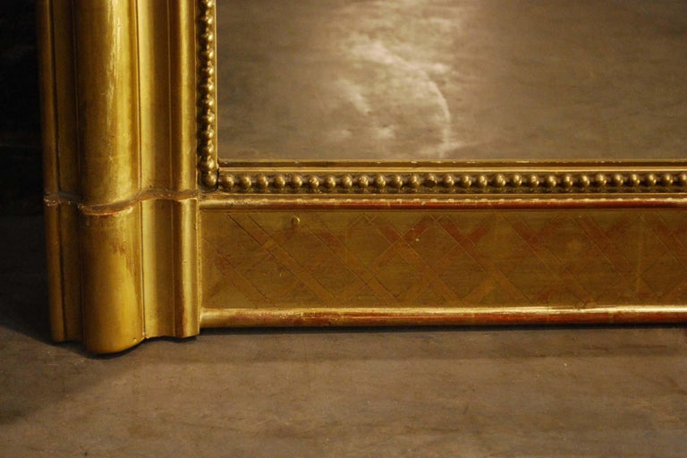 Large Antique Gold Gilt French Louis Philippe Mirror For Sale 4