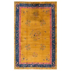 Large Antique Goldenrod Art Deco Chinese Wool Rug