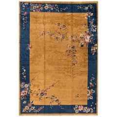 Large Antique Goldenrod Chinese Art Deco Wool Rug