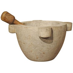 Large Antique Gray Marble Mortar with Pestle from France, 19th Century