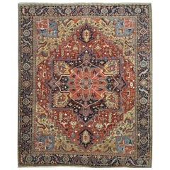 Large Antique Hand Knotted Persian Heriz Rug