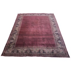 Large Antique Hand Knotted Silk and Wool Senneh Rug