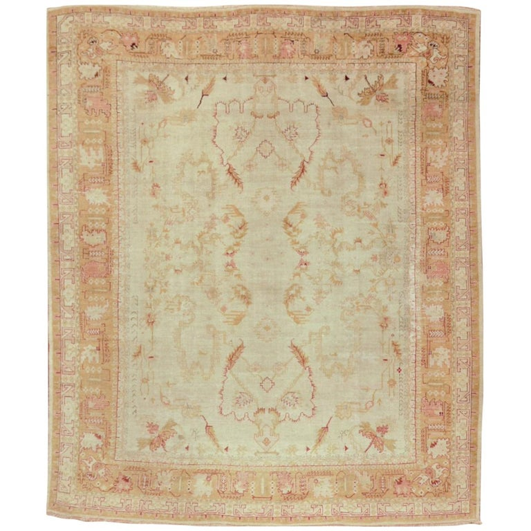 Large Antique Hand Knotted Wool In Ivory Red Gold Colors Turkish Oushak Rug For Sale At 1stdibs