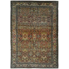 Large Antique Hand Knotted Wool Persian Isfahan Rug