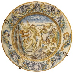 Large Antique Hand Painted Majolica Platter from Italy, circa 1860