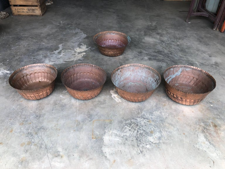 Moroccan Large Antique Handcrafted Copper Bowls from Morocco, circa 1900 For Sale