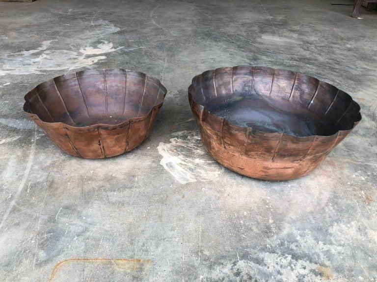 Hand-Crafted Large Antique Handcrafted Copper Bowls from Morocco, circa 1900 For Sale