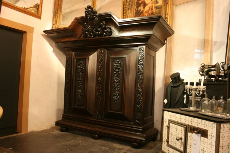 Baroque Large antique Historicism Cabinet made of solid oak, Germany, circa 1880 For Sale