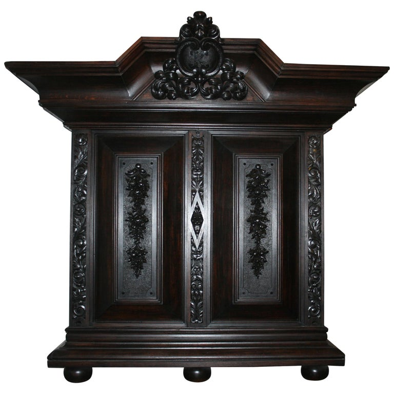 Large antique Historicism Cabinet made of solid oak, Germany, circa 1880 For Sale