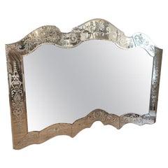 Large Antique Horizontal Venetian Mirror
