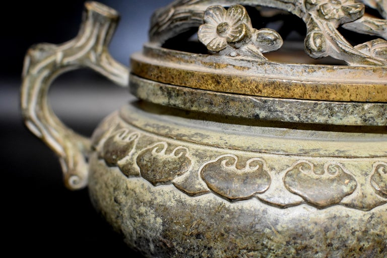 Large Antique Incense Burner, Ruyi and Plum Blossom For Sale 9
