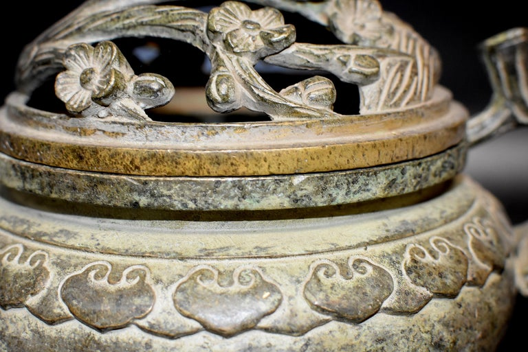 Large Antique Incense Burner, Ruyi and Plum Blossom For Sale 11