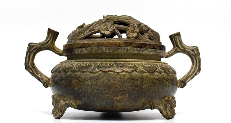 Large Antique Incense Burner, Ruyi and Plum Blossom For Sale 12
