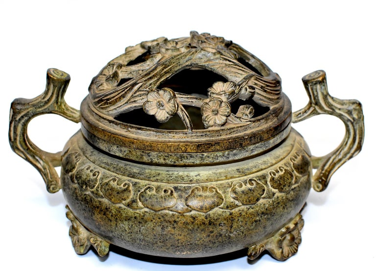 Large Antique Incense Burner, Ruyi and Plum Blossom For Sale 14