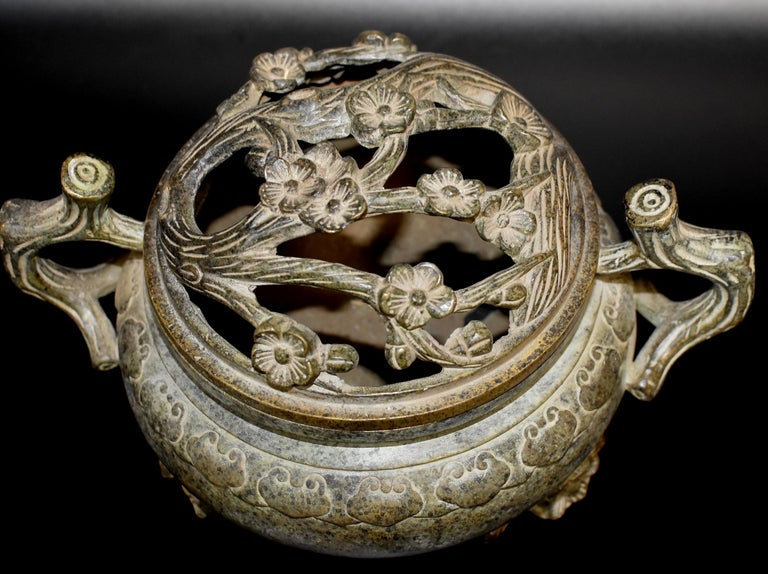 Chinese Large Antique Incense Burner, Ruyi and Plum Blossom For Sale