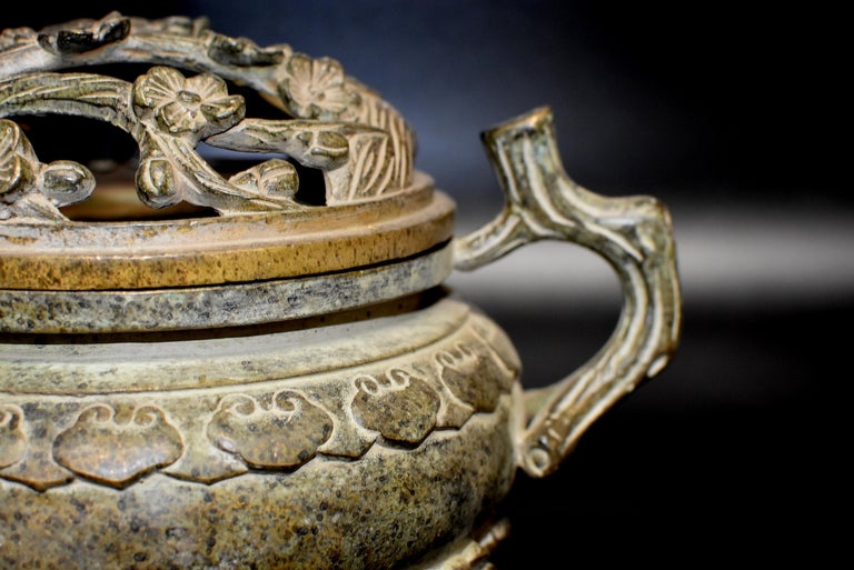 20th Century Large Antique Incense Burner, Ruyi and Plum Blossom For Sale