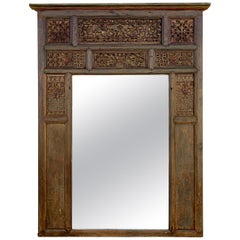 Large Antique Indian Carved Window Frame Mirror