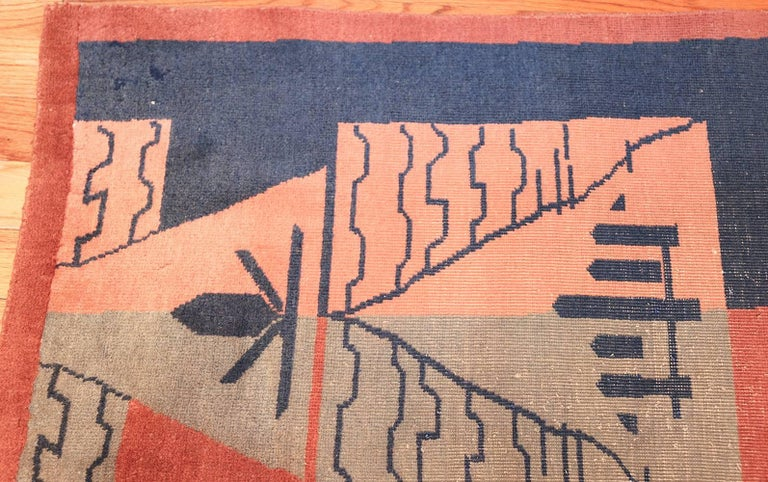 Large Antique Indian Shabby Chic Art Deco Rug. Size: 12 ft 4 in x 15 ft  In Good Condition For Sale In New York, NY