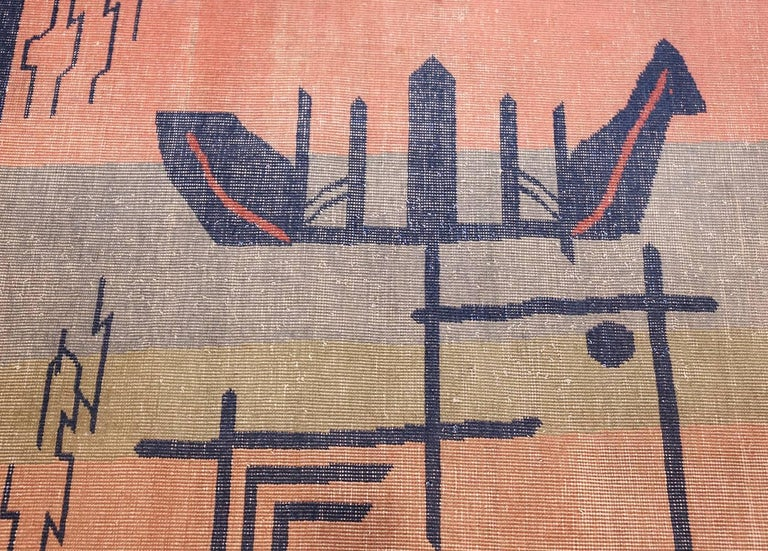 20th Century Large Antique Indian Shabby Chic Art Deco Rug. Size: 12 ft 4 in x 15 ft  For Sale