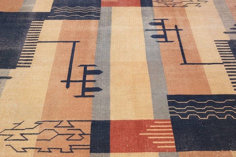 Wool Large Antique Indian Shabby Chic Art Deco Rug. Size: 12 ft 4 in x 15 ft  For Sale