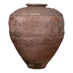 Large Antique Indonesian Terracotta Water Jar with Wavy Patterns and Aged Patina