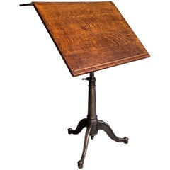 Large Antique Industrial Oak Artist Rendering Easel with Cast Iron Pedestal Base