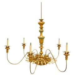 Large Antique Italian Giltwood and Bronze Sunburst Six-Light Chandelier