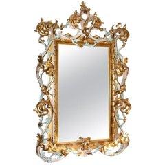 Large Antique Italian Giltwood Mirror