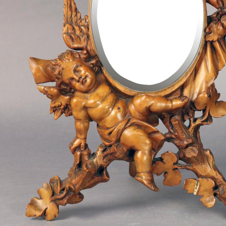 Large Antique Italian Rococo Figural Hand Carved Cherub