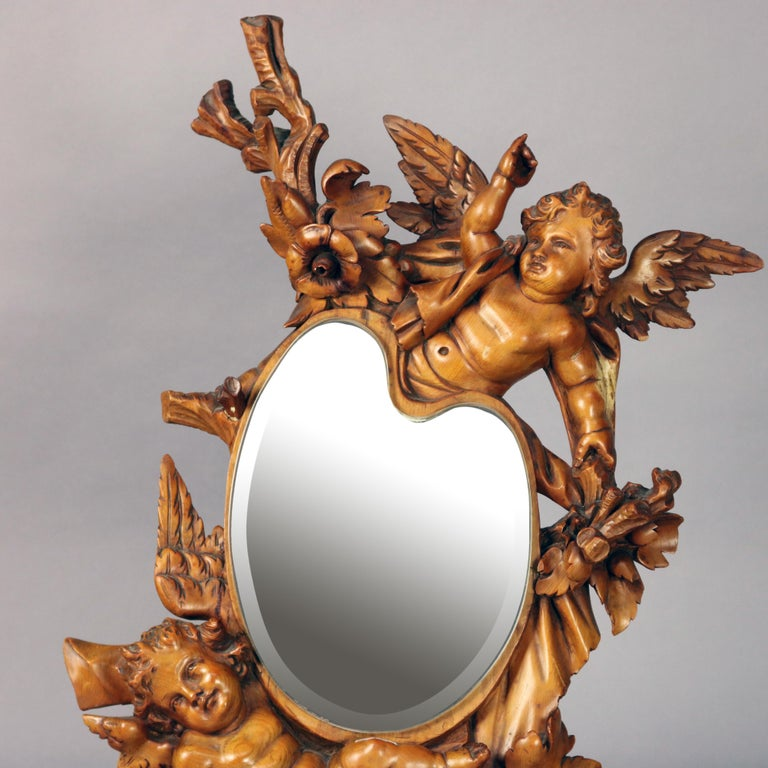 Large Antique Italian Rococo Figural Hand Carved Cherub Table Mirror In Good Condition For Sale In Big Flats, NY