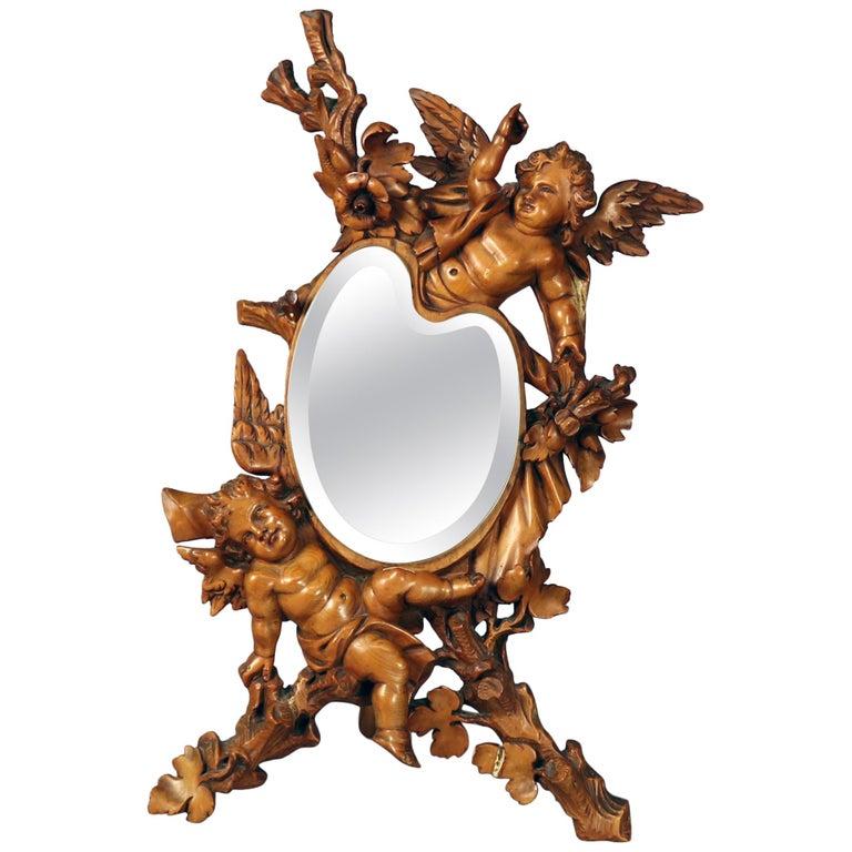 Large Antique Italian Rococo Figural Hand Carved Cherub Table Mirror For Sale