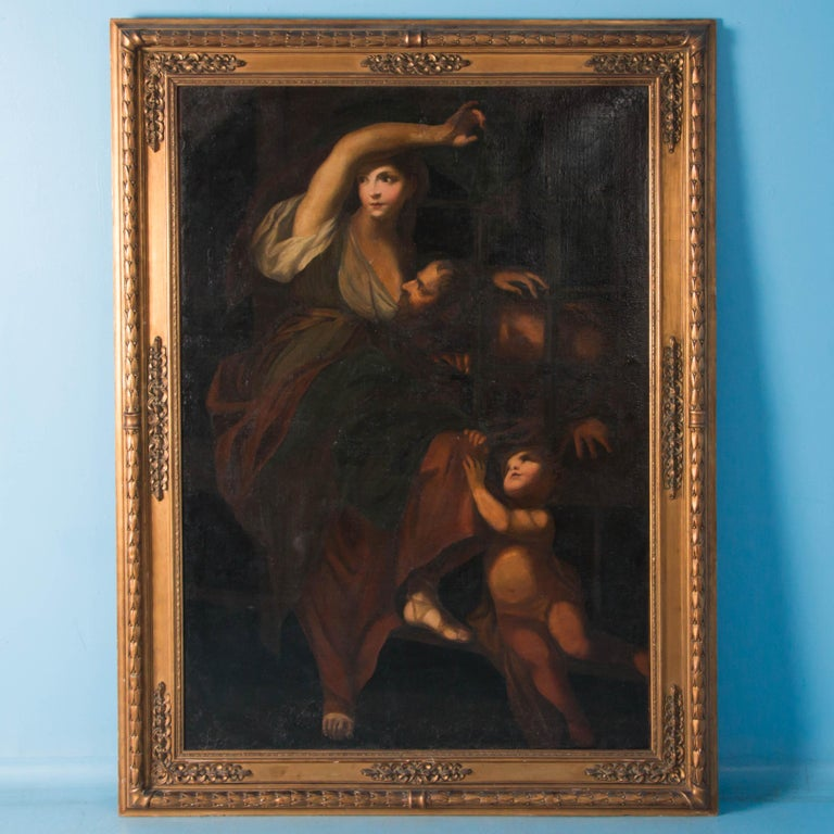 Painted in the late 18th or early 19th century this large allegorical oil painting,
