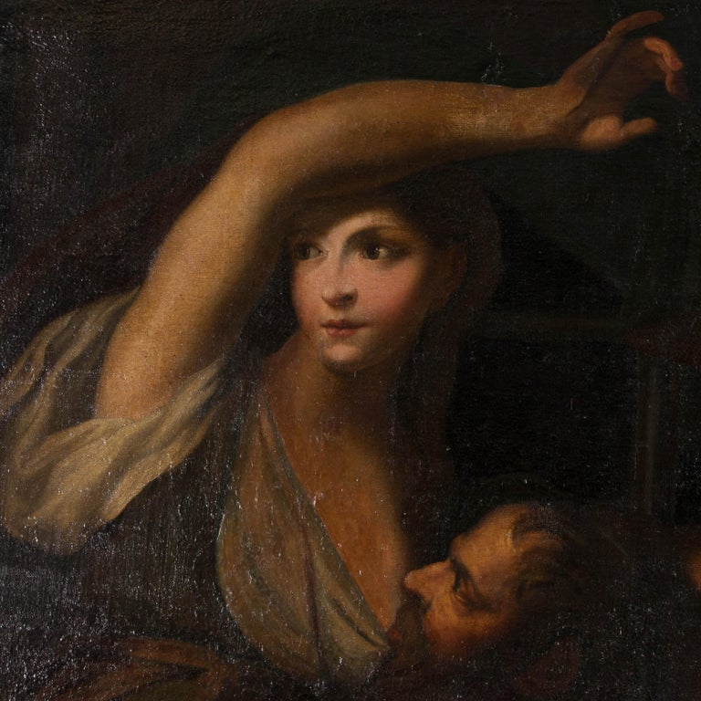 Large Antique Italian School, 'Roman Charity', Oil on Canvas Painting For Sale 3