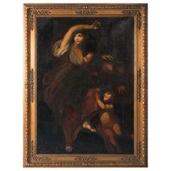 Large Antique Italian School, 'Roman Charity', Oil on Canvas Painting
