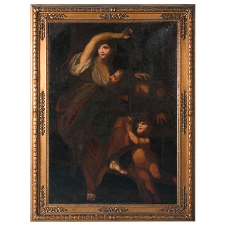 Large Antique Italian School, 'Roman Charity', Oil on Canvas Painting For Sale