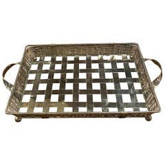 Large Antique Italian Silver Square Tray, 1950s