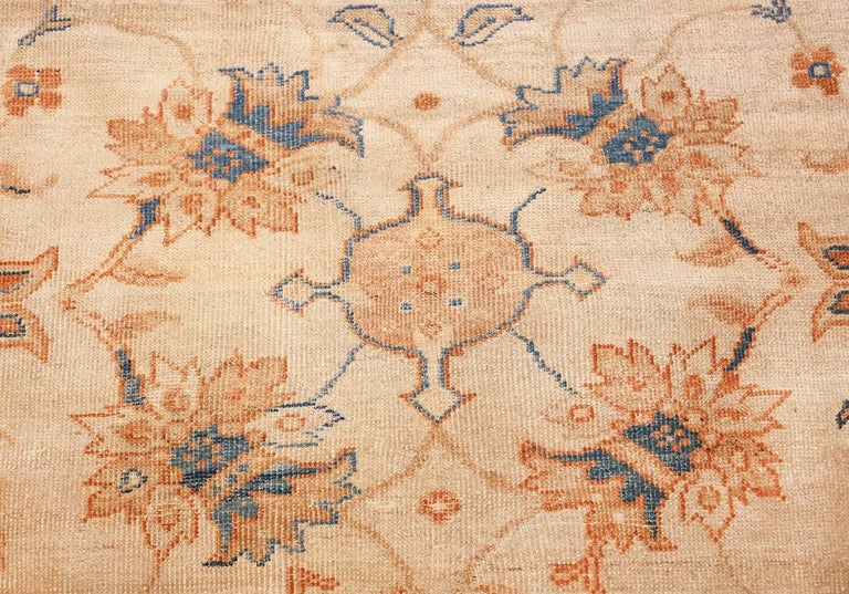 Hand-Knotted Large Antique Ivory Background Persian Sultanabad Rug. Size: 11' 10