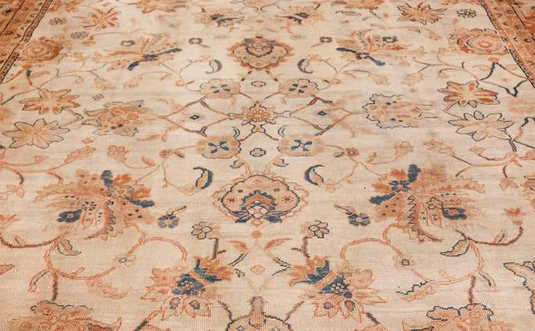 Wool Large Antique Ivory Background Persian Sultanabad Rug. Size: 11' 10