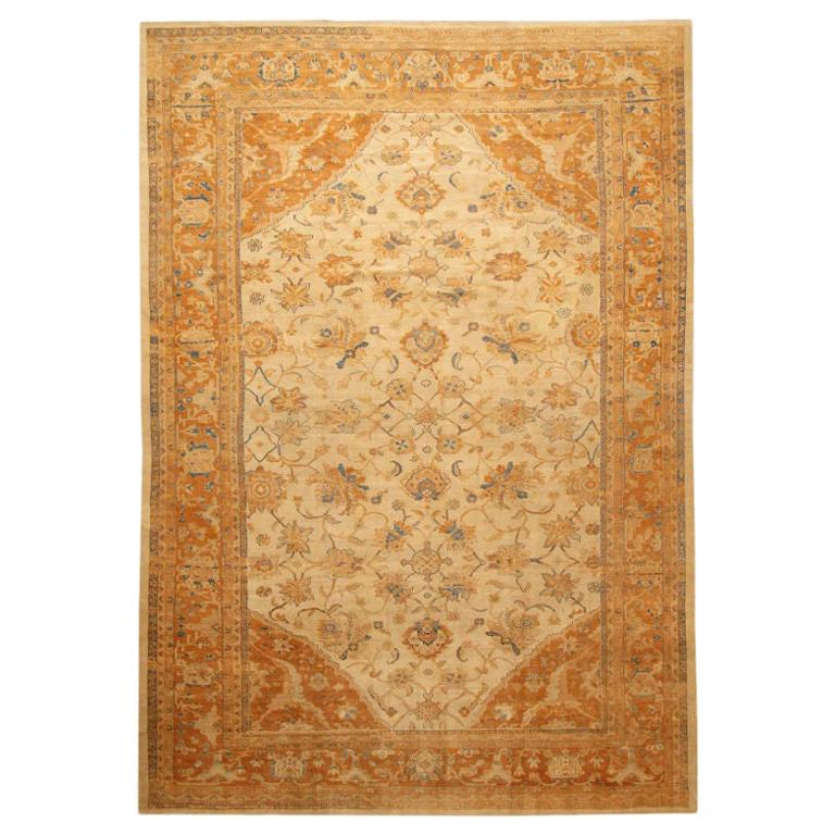 "Large Antique Ivory Background Persian Sultanabad Rug. Size: 11' 10"" x 16' 5"" For Sale"