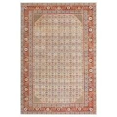 """Large Antique Ivory Haji Jalili Persian Tabriz Rug. Size: 12' 10"""" x 19' 2"""""""