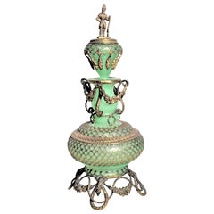 Large Antique Jadeite Glass Perfume Bottle with Ornate Gilt Brass Top and Mounts