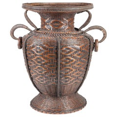 Large Antique Japanese Bamboo Flower Basket Hahakago in Chinese Taste