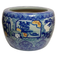 Large Antique Japanese Blue and White Jardinière, Early 20th Century