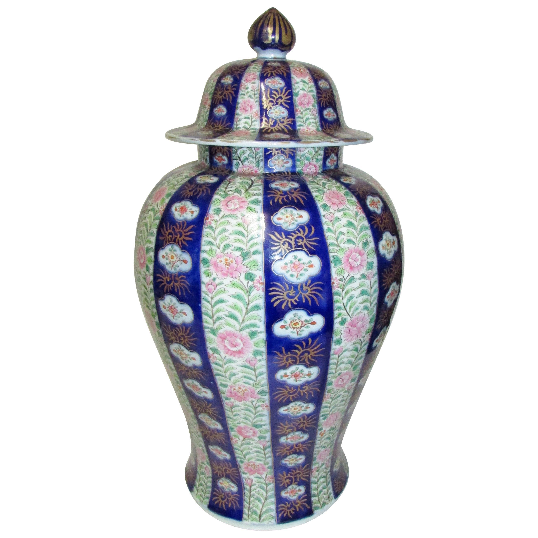Large Antique Japanese Imari Temple Jar
