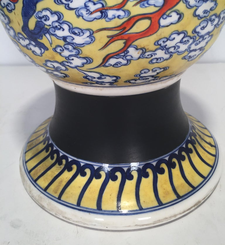 Ceramic Large Antique Japanese Makuzu Kozan Studio Vase, circa 1900 For Sale